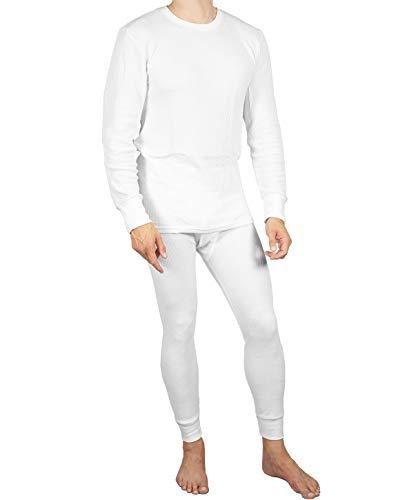 Joe Boxer Mens 2pc Thermal Underwear Set, Crew Top Shirt + Pants Bottom - Long John Set (White, Medium)
