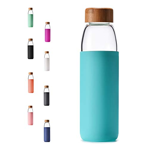 Veegoal 18 Oz Borosilicate Glass Water Bottle with Bamboo Lid and Protective Sleeve-Bpa Free (Teal) ()