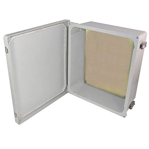 Altelix 14x12x6 NEMA 4x FRP Fiberglass Weatherproof Enclosure with Aluminum Equipment Mounting Plate, Hinged Lid & Stainless Steel Latches ()