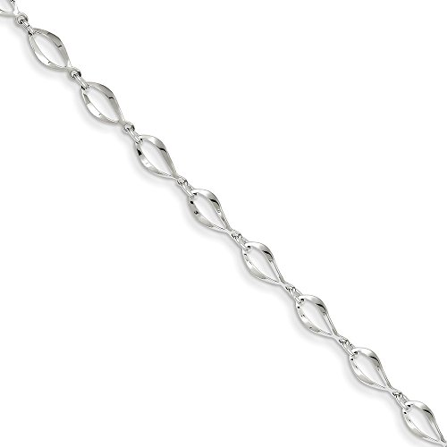 (14k White Gold Link Bracelet 7.25 Inch Chain Fancy Fine Jewelry Gifts For Women For Her )