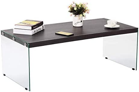 Tangkula Glass Coffee Table, Wood Top Tempered Glass Legs Modern Home Office Living Room Furniture, Coffee Table End Table Tea Table 43.5 Lx22 Wx16 H Dark-Brown