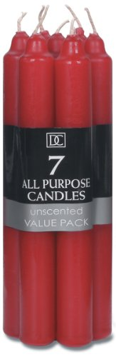 Red Advent Candles (Darice All Purpose Unscented Taper Candles, 7-Inch, Red, 7-Pack)