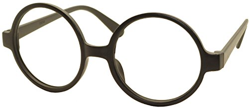 FancyG Retro Geek Nerd Style Round Shape Glass Frame NO LENSES - Matte Black]()