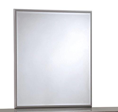 Global Furniture ADEL (119A)-Mirror Mirror, Grey High Gloss & Zebra Wood
