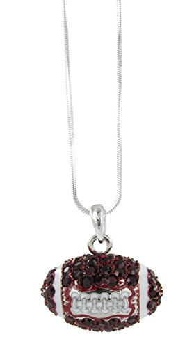 Dome Football Rhinestone Pendant Necklace - Dark Red Crystal and White Enamel