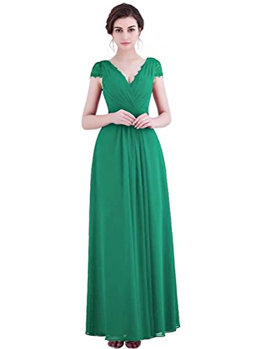Vestito Damigella Aperto Da Pizzo V Elegante Maniche Promenade Cappuccio Verde Abito Con Da A Lunga Scollo A line Chiffon Con D'onore Indietro EqCOC