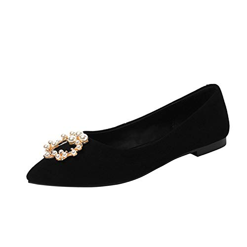 2019 New Women Shoes Fashion Elegant Flat Metal Pearl Buckle Desgin Genuine Suede Leather Slip on,Black,36