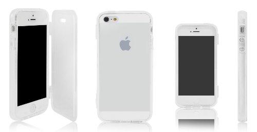 Xcessor Flip Open TU Gel Case Tasche Schutzhülle Für Apple iPhone SE / 5S / 5. Vorder-und Rückseite Schutz. Transparent