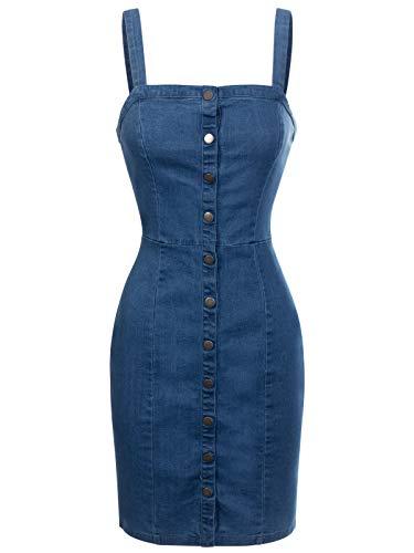 Design by Olivia Women's Spaghetti Strap Front Button Closure Denim Bodycon Dress Denim - Closure Denim
