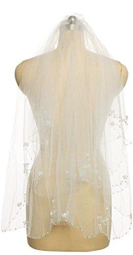 """Passat Diamond White 1 Tier 36"""" Fingertip Length Wedding Veil Sequin Pearl Edge Luxury Crystals Beaded Bling Bridal Veil H62"""