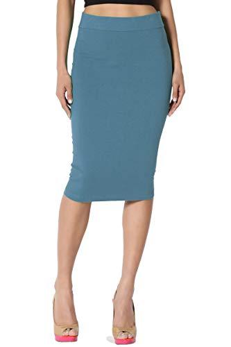 TheMogan Women's Stretch Cotton Elastic High Waist Pencil Midi Skirt Titanium 1XL ()