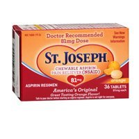 St. Joseph St. Joseph Aspirin Chewable Orange, Orange 36 tabs 81 mg(Pack of 3)