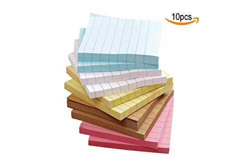 Colorful Sticky Notes,Self Sticky Notes,Lined,10 Pads/Pack, 3x3inch 80 Sheets/Pad, 5 Colors