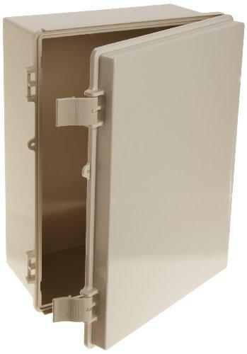 BUD Industries NBF-32026 Plastic ABS NEMA Economy Box with Solid Door, 15-47/64 Length x 11-51/64 Width x 6-9/32 Height, Light Gray Finish by BUD Industries by BUD Industries