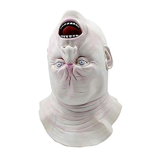 Anime Latex Mask - Terrorble Halloween Upside Down Ghost Mask Creepy Grimace Latex Realistic Full Head Masquerade Party - Full That Blue Animal Kids Face Feathers Party Gold Bulk Masquerade B -