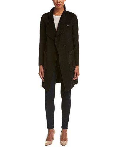 Soia & Kyo Womens Taina Leather-Trim Wool-Blend Coat, L, Black - Kyo Black Wool