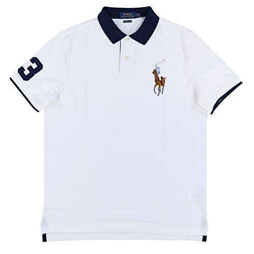 Polo Ralph Lauren Mens Classic Fit Big Colored Pony Polo Shirt (Large, Classic White)