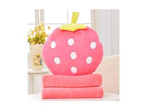 Comfortable Pillow Blanket Cushion Blanket Pillow Set - 3 in 1 Cartoon Fruit Travel Blanket Hand Warm and Pillow Set for Office Birthday Gift Cartoon Pillow (Color : Orange, Size : 40x40cm) Wetietir