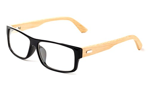 Newbee Fashion - Kayden Retro Unisex Plastic Fashion Clear Lens Glasses Bamboo Black