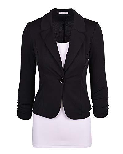 lgant Blazer Blouson Noir Fit Slim Manches Jacket Ajust Femme Manteau Longues pC6ndWCSq