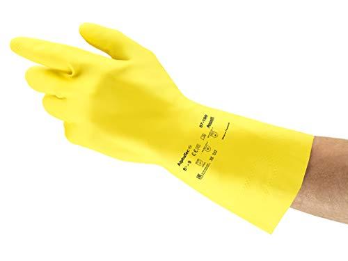 Ansell AlphaTec 87-190 Latex Guante contra productos quimicos, Amarillo, Tamano 9 5-10 (1 Par)