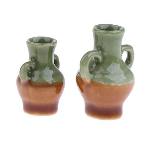 Brosco 1/12 Scale Porcelain Green Glaze Vase Dollhouse Miniature Accessories Decor ()