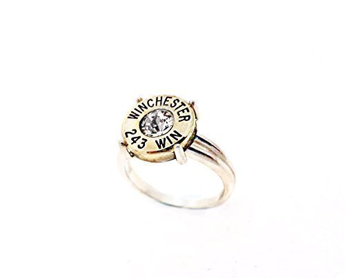 Women Girl 925 Sterling Silver Split Shank Custom Size Ammo Bullet Ring Jewelry Gift for Her (Wedding Shooting Target compare prices)
