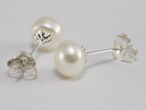 Pearl Fish Cultured Bracelets (925 Sterling Silver Earring Cartilage For Women Ear Stud Helix Button Stud Freshwater Cultured Pearl 6mm)