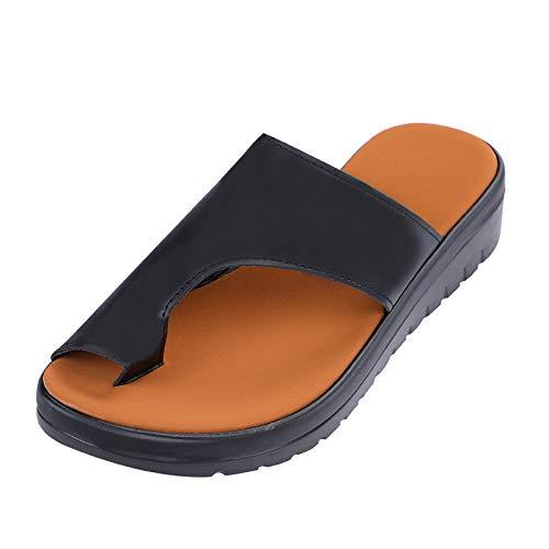 Women Sandal, PU Leather Shoes Comfy Platform Flat Sole Ladies Casual Soft Big...