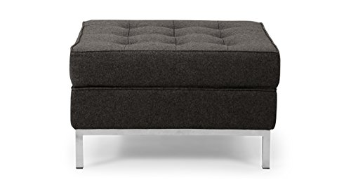 Kardiel Florence Knoll Style Ottoman, Charcoal Tweed Cashmere Wool