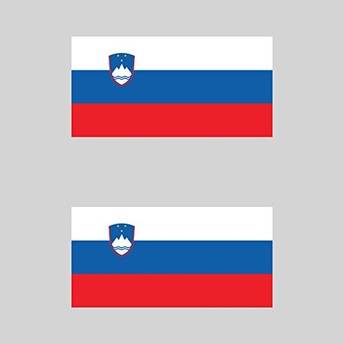 Two Pack Slovenian Flag Sticker FA Graphix Decal Self Adhesive Vinyl Slovenia SVN SI