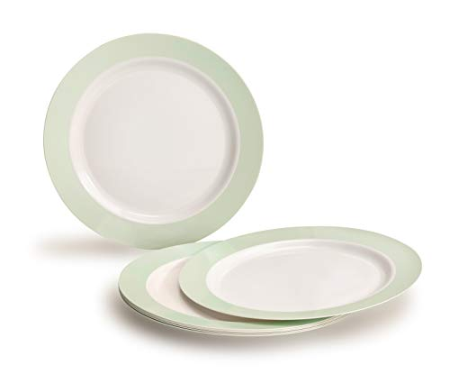 OCCASIONS 40 PACK, Heavyweight Disposable Wedding Party Plastic Plates (7.5'' Appetizer/Dessert Plate, Rio, White & Pearled Green)