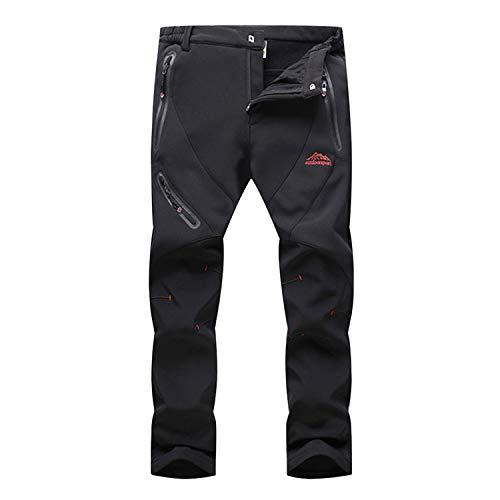 LASIUMIAT Men's Outdoor Winter Wind Resistant Fleece Lined Cargo Snow Ski Hiking Mountain Pants Black