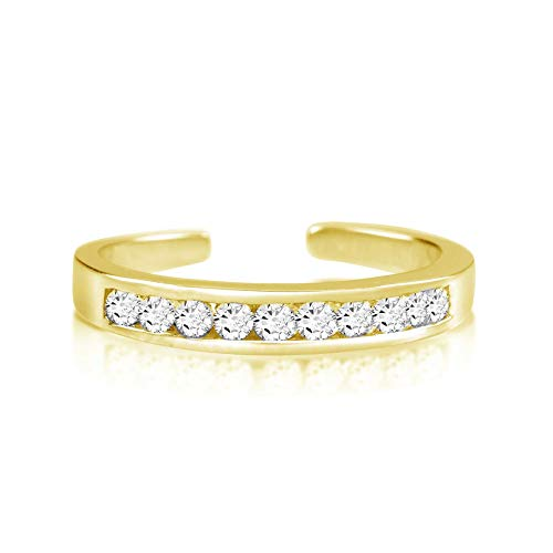 Sterling Silver Toe Rings Round Cut Cubic Zirconia White Channel Set Gold Plated ()
