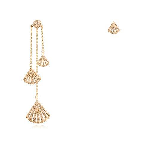 (Kin Scallop Shell Long Earrings S925 Stick Silver Earrings (Color : Gold, Size : M))