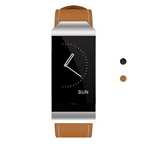 Blood Pressure Monitor Watch - Leather Band Smartwatch with Heart Rate Monitor Pedometer Sleep Monitor Message & Call Reminder Compatible with Android and iOS Phone - Brown