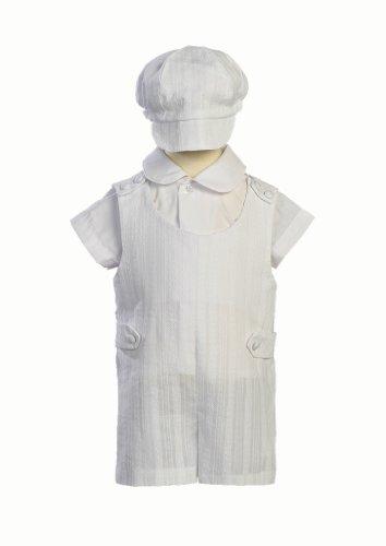 Cotton Embroidered Short Christening Baptism Romper Set - Size L (12-18 Months) ()