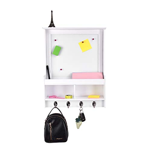 EMERIT Wall Mounted Decor Organizer with Magnetic Dry Erase Memo White Board,Mail Holder,Key Hanger Hooks for Home Office ()