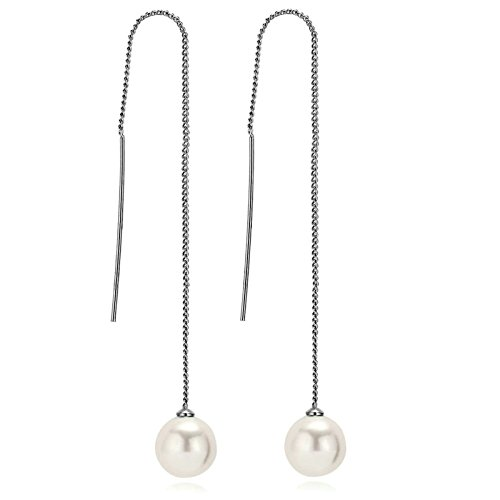 [Aooaz Womens Silver Plated Earrings Threader Earrings Long Chain Pearl Wedding Earrings Silver] (Elephant Ears And Nose Costume)