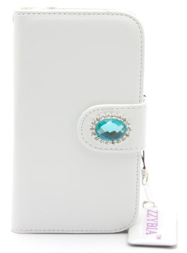 ZZYBIA® S4 HD b White Leatherette Stand Case Card Holder Wallet for Samsung Galaxy S4 IV I9500 I9505