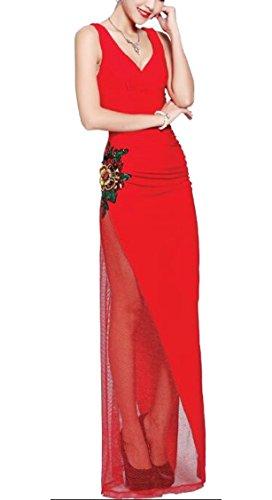 V Elegant Mesh Red Sexy Jaycargogo Embroidery Flower Womens Sleevelss Evening Neck Dress XZRnq0