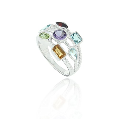 Rhodium Plated 925 Sterling Silver Red, White, Purple, Green Geometric Colored Stones Ring, Size 6