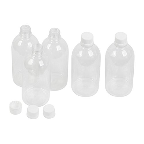 uxcell 5pcs 500ml Screw Top Clear Plastic Chemicals Storage Reagent Bottle