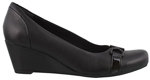 CLARKS Women's Flores Poppy Black Leather 10 D US (Wide Shoes Wedge)