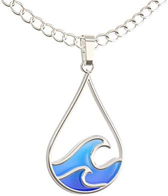 Beach jewelry Resin Necklace Blue beach necklace Mothers day gift Beach necklace Ocean wave necklace Sea wave necklace Wood Pendant