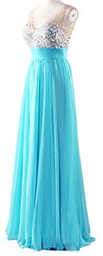 Noche de Con en Las Mujeres V de de Gasa La de Largo Baile Lentejuelas de Novia de Azul Fiesta Cuello de Eyekepper Claro Vestido T8qOpq0