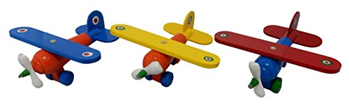 Toys IER Wooden Airplanes for Kids (3 Pack, Assorted Colors)