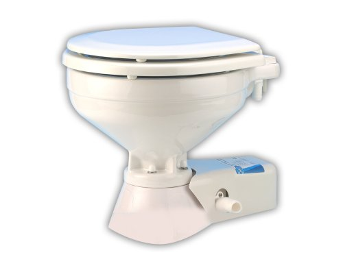Jabsco 37245-0092 Quiet Flush Marine Electric Toilet, Seawater, Compact Size, 12 Volt, 25 Amp