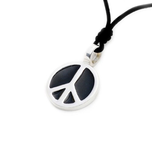 Vietsbay Black Peace sign Silver Pewter Charm Necklace Pendant Jewelry ()
