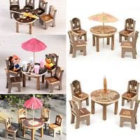 NUMBERNINE,Dollhouse Miniature Furniture Garden Mini Dining Room Table & 4 Chairs Toys,doll house accessories set